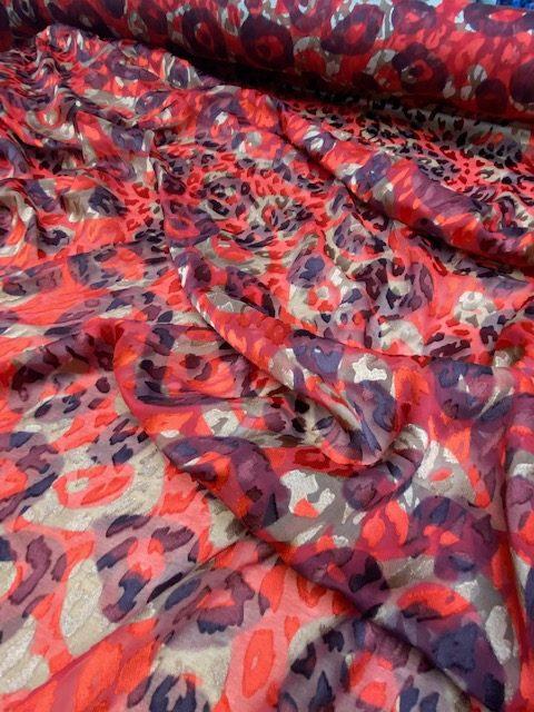 Nuances Fabrics Tissu Imprimes E3539 Sauvane Rouge